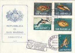 "FDC De ""Rep. Di San Marino"" Du 27-08-1966, ""Faume Marine : Dauphin, St Pierre, Poulpe..."" - FDC"