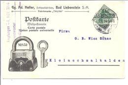 Deutsches Reich Germany PUB 1914 A.Heller Schlossfabriken  In Bad Liebenstein - Germany