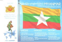 POSTAL   BANDERA DE MYANMAR - Otras Colecciones