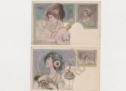 2 Cpa Fantaisie Signées B.PATELLA  / Jeunes Femmes Style Art Nouveau Façon Mucha - Illustrateurs & Photographes