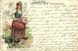 CARTOLINA RICORDO  Contadina Di Recoaro RV Timbre Cachet - Vicenza