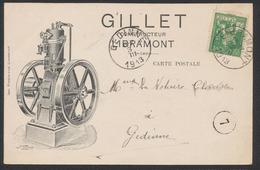 """Pellens - N°110 Sur Carte Imprimée """"Pinson Fils (Libramont)"""" Expédié Vers Gedinne / Illustré, Texte Au Verso. - 1912 Pellens"""