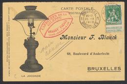 """Pellens - N°110 Sur Carte Imprimée """"La Joconde : Lampe"""" Expédié De Dolhain-Limbourg (1913) Vers Bruxelles. - 1912 Pellens"""
