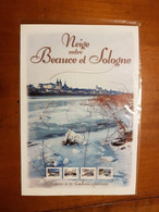 """COLLECTOR """"NEIGE ENTRE BEAUCE ET SOLOGNE"""" 10 TIMBRES ADHESIFS A PRIX COUTANT - France"""