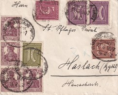 ALLEMAGNE 1922 LETTRE AVEC CACHET FERROVIAIRE/ZUGSTEMPEL FRANKFURT-KARLSRUHE-BASEL - Deutschland