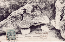Corse Pittoresque, Sartène, Grands Vignobles De Giovichi, Homme, Fusil, Autel Druidique, 1906, 2 Scans - Sartene