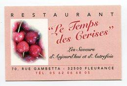 CdV °_ Resto-32-Fleurance-Le Temps Des Cerises - Tarjetas De Visita