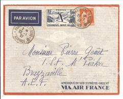 1934 Par Avion Paris 22.1.37 Vers Leopoldville-Brazzaville. Air France TP Paix F1.00 + FIS F1,50 - Poststempel (Briefe)