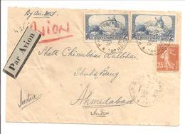 1938 Par Avion Paris 14.4.38 Vers AHMEDABAD INDIA TP Semeuse + Moulin - Poststempel (Briefe)