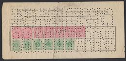 """Affranch. Mixte (émission 1883 / 84) Sur Bulettin De Caisse D'épargne Non Oblitéré + Perforation """"CAISSE D EPARGNE"""". TB - 1883 Leopold II."""