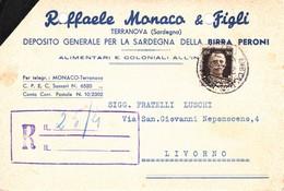 TERRANOVA PAUSANIA - SASSARI / OLBIA - CARTOLINA COMMERCIALE PUBBLICITARIA RAFFAELE MONACO DEPOSITO BIRRA PERONI - 1938 - Sassari