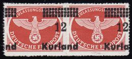 Kurland 4By Feldpostpäckchen-Marke: Paar Mit Verschobenem Aufdruck * BPP-Befund - Besetzungen 1938-45