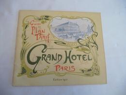 Pub Publicité Guide Plan Tarif Arts Nouveaux Style Mucha Grand Hôtel Paris 1901 Superbe - Advertising