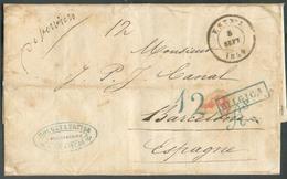 Lettre Datée 5 Septembre 1854 De VERVIERS (griffe Manuscrite Avant L'usage De La Griffe Au Tampon) Pour BARCELONE Càd Am - Postmark Collection