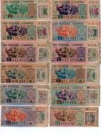 - 12 SOUCHES DE BILLETS DE LOTERIE NATIONALE 1945 - GUEULES CASSÉES - - Biglietti Della Lotteria