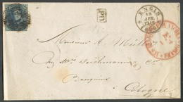 N°11A - Médaillon 20 Centimes Bleu, Obl. D.71 Sur Enveloppe D'ENGIS * Le 13 Avril 1860 + Dc Rouge AUS BELGIEN PER AACHEN - 1858-1862 Medallions (9/12)