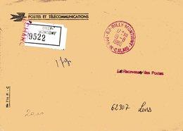 62 PAS DE CALAIS CACHET ROUGE BILLY MONTIGNY 1980 LETTE CHARGEE DE LA POSTE EN FRANCHISE - Storia Postale