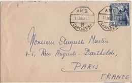 ESPAGNE YT N°773 SEUL SUR LETTRE POUR LA FRANCE OBLITERATION AMBULANT CARTAGENE - 1850-68 Royaume: Isabelle II
