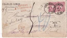 ALSACE-LORRAINE 1880 LETTRE TAXEE  DE SULZMATT AVEC RETOUR A L'ENVOYEUR - Marcophilie (Lettres)