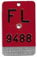 Velonummer Liechtenstein FL 9488 = Schellenberg - Plaques D'immatriculation