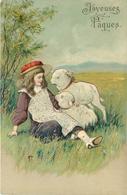 JOYEUSES PÂQUES - Petite Fille Et Agneaux (carte Gaufrée) - Pâques