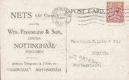 Great Britain Wm. FREESTONE & Son, NOTTINGHAM 1932 Card Karte ZÜRICH Switzerland 1½p. GV. - 1902-1951 (Kings)