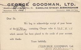 Great Britain GEORGE GOODMAN Ltd, BIRMINGHAM 1932 Card Karte ZÜRICH Switzerland 1½p. GV. - 1902-1951 (Kings)