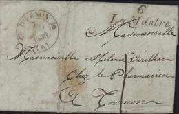 Cursive 6 Lamastre CAD T12 Tournon 6  7 Mai 1836 Taxe Manuscrite 1 - Marcofilie (Brieven)