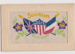 Cpa Fantaisie Brodée / Souvenir / Drapeaux Des Alliés ( Royaume-Uni , Amérique , France ) - Brodées