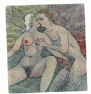 Petite Gravure Erotique 11 Cm Sur 12 - Estampas & Grabados