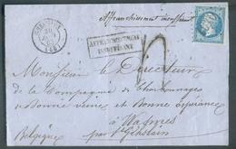 Lettre Affr. 25 C. NAPOLEON Obl. GC 1010 Sur Lettre De CHEVILLON (Haute Marne) 30 Janvier 1863 Vers Wasmes (BE) + Griffe - 1862 Napoleon III