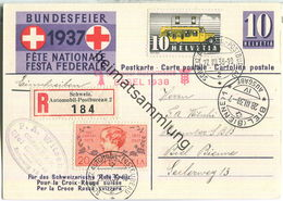 Bundesfeier-Postkarte 1937 - 10 Cts - E. Hodel Sanitätssoldat Mit Hund - Zugunsten Des Schweizerischen Roten Kreuzes - Postwaardestukken