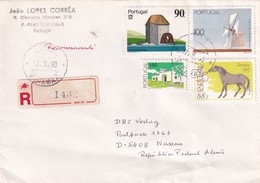 Portugal 1990 Registered Cover: Water Mill; Wind Mill; Architecture; Fauna Horse Pferd - Portugal