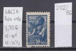 86K202 / 1937 - Michel Nr. 682 I A , Bdr. , OWz , 12 : 12 1/2 , 30 K. - Pilot , Flieger , ( ** ) Russia Russie - Unused Stamps