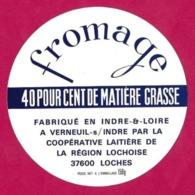 Etiquettes De Fromage.  Verneuil Sur Indre.    Neuve. - Quesos
