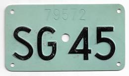 Velonummer St. Gallen SG 45 - Plaques D'immatriculation