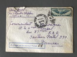 """USA, Lettre Pour La France, Griffe """"A DIRIGER SUR LE SECTEUR POSTAL 64"""" 1939 - (B1408) - Storia Postale"""