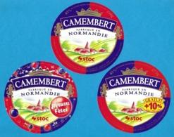 3 Etiquettes De Fromage.    Camembert De Normandie. - Quesos