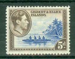 Gilbert & Ellice Islands: 1939/55   KGVI    SG49b   5d   Ultramarine & Blackish Brown   MH - Gilbert- En Ellice-eilanden (...-1979)