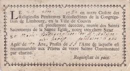 COUVIN 1780 Religieuses Pénitentes Récollectines De Limbourg  Soeur Marie Bonaventure De St Antoine 79 Ans Format Carte - Obituary Notices
