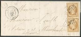 Lettre Affr. 10c.(paire) NAPOLEON Obl. GC 3467 Sur Lettre De SUIPPES (Marne) 28 Déc. 1863  Vers Chalon S/Marne - 14971 - 1862 Napoléon III.