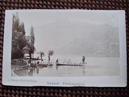 CDV Photo L. Demay, Aix-les-Bains - Savoie Pittoresque - Lac Du Bourget - Animée - Circa 1870 - BE - Lieux