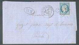 Lettre Affr. 20c. CERES Obl. GC 3092 De THORNON Sur RHONE (Ardèche) Le 12 Juillet 1871 + B(oite) M(obile) Vers Tournon- - 1870 Beleg Van Parijs