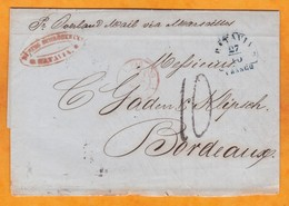 1850 - Folded Letter With Text From  Batavia, Ned Indies, Dutch Colony To Bordeaux, France Via Alexandria & Marseille - Nederlands-Indië