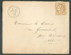 Lettre Affr. 10c. CERES Obl. GC 1791 De HERISSON Le 22 Mai 1874 Vers Givarlais - 14984 - 1871-1875 Ceres