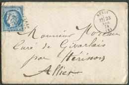 Lettre Affr. 25c. CERES Obl. GC 2621 De NERIS Le 23 Nov. 1874 Vers Givarlais Via Hérisson - 14985 - 1871-1875 Ceres