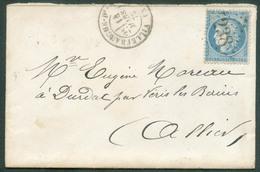 Lettre Affr. 25c. CERES Obl. GC 4238 De VILLEFRANCHE DE Le 14 Mars 1872 Vers Moulin En Allier- 14986 - 1871-1875 Ceres