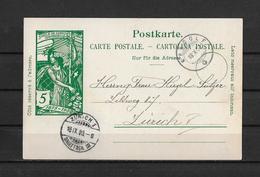 1900 POSTKARTE → 25 Jahre Weltpostverein U.P.U. Oetlishausen Via KRADOLF (TG)  2Kr.Stpl. Nach Zürich - Entiers Postaux