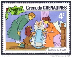 462 Disney Grenada Lady Tramp Belle Clochard Noel Christmas MNH ** Neuf SC (GRG-50b) - Disney