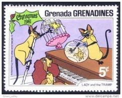 462 Disney Grenada Lady Tramp Belle Clochard Noel Christmas Chat Cat Poisson Fish Bird Oiseau MNH ** Neuf SC (GRG-51b) - Disney